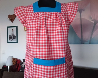 Vintage tunic blouse checkered GR 40 red white 70 he issued Cap sleeves