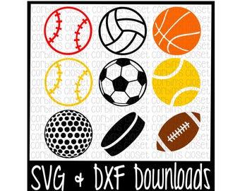 Sports Balls SVG Cut File - DXF & SVG Files - Silhouette Cameo, Cricut