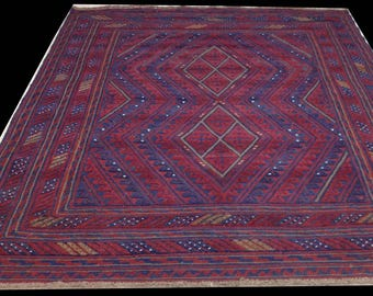 Hand woven, wool afghan rug and kilim combined - 6'  x 5'