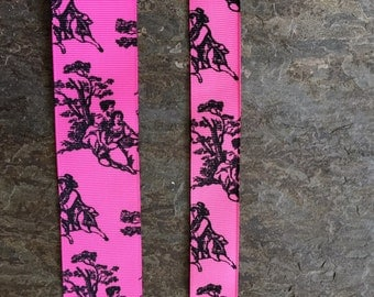 Shocking Pink and Black Toile
