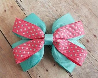 Layered Girls Hair Bow, Layered Hair Bow, Teal & Coral Hair Bow, Black and Pink Hair Bow, Polka Dot Hair Bow, Polka Dots