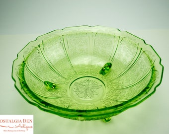 Green Depression Glass Fruit Bowl | Jeanette Glass Co | Cherry Blossom Pattern