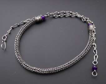 Viking knit necklace, wire jewelry, amethyst necklace, viking knit jewellery, knitted jewelry, gift for her, february necklace, wire wrapped