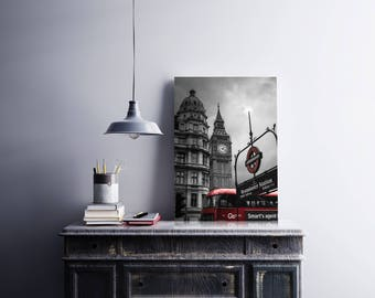 Black and white Big Ben,London ,alu-dibond,matte,print,60x40,rigid,wall decor, aluminium,home,office,cafe,quality,weather resistant,cloudy