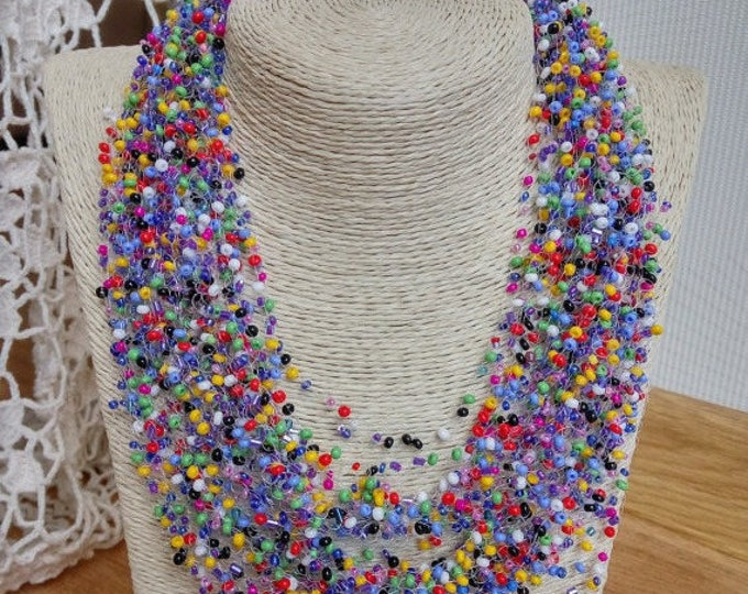 Multicolor colorful airy necklace cobweb crocheted beadwork multistrand statement casual gentle unusual gift for her all colors overseason