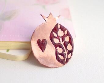 Pomegranate jewelry, copper pomegranate brooch, red pomegranate charm, enamel jewelry brooch, fruit brooch