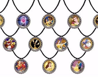 12x Beauty and the Beast Inspired Party Favor Necklaces