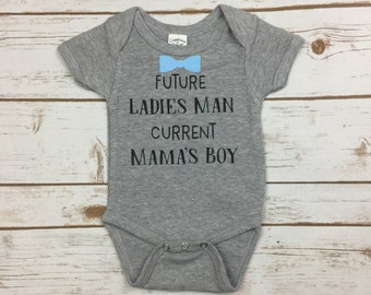 Future Ladies Man Current Mama's Boy Outfit - Funny Bodysuit Sayings - Baby Boy Bodysuit - Baby Shower Gifts