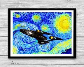 Star Trek Starry Night Print, Reproduction of Vincent Van Gogh Starry Night, Star Trek Cotton Canvas Print, Star Trek Nursery Decor