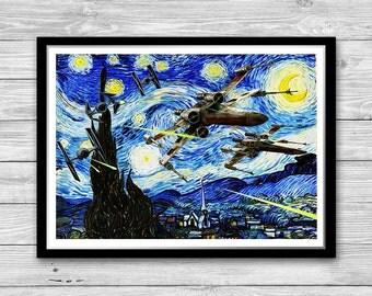 Star Wars Battleships Starry Night Print, Van Gogh, Reproduction of Vincent Van Gogh Starry Night, Starships poster, Star Wars wall art