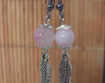 Natural jade earrings Pearl Pink and silver color pen