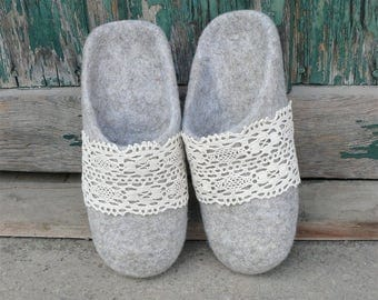 Felted slippers without heel wool slippers eco home shoes gray slippers mules felted slip on slippers organic gift for mom felt house shoes