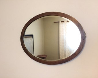 vintage oval oak mirror beveled wood mirror horizontal oval mirror living room decor large oval mirror antique wood mirror