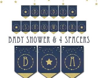 Twinkle Twinkle Little Star printable banner,Twinkle baby shower banner,navy and gold banner,navy Twinkle Twinkle Little Star baby shower
