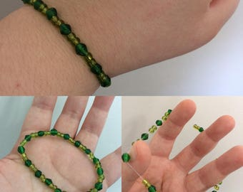 Great Green Glass Beaded Bracelet