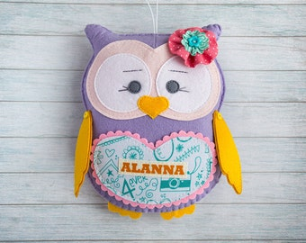 Custom plush Owl toy Baby girl gift Personalized baby gifts Easter gift Graduation preschool Owl wall decor Woodland animals Kids room decor
