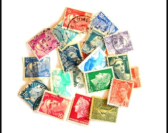 Assorted Used Cancelled Republique of Francaise Postage Stamps - Vintage France Postage