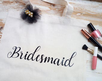 Bridesmaid tote bag, Custom canvas tote bags, Personalised name tote bag, Personalized wedding gift bag, Maid of honor gift, Mam gift, Bride