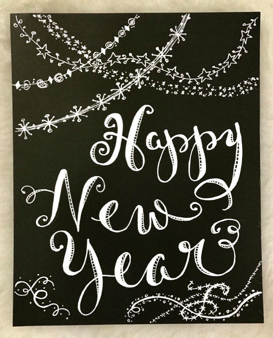 Winter Happy New Year Custom Calligraphy Chalkboard Paper ...
