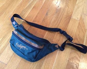 Vintage Eastsport fanny pack forest green leather backpack bag satchel fannypack