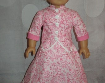 "Handmade 1870's Bustle Dress with Watherfall Bustle for American Girl 18"" Dolls - Pink - 3 Pieces"