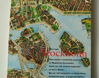 Stockholm hand-drawn by Magdalena Korotynska 1960 s, reprint 1992 / / City Guide / / prop / / gift / / nostalgia / /.