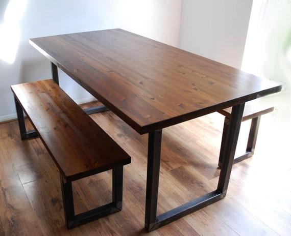 Industrial Dining Table Set: Vintage Industrial Dining Kitchen Table And Bench Set Modern