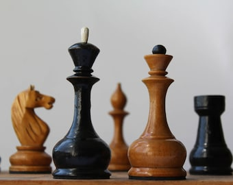 Soviet chess, Chess set USSR, Wooden chess, Vintage chess, 60's
