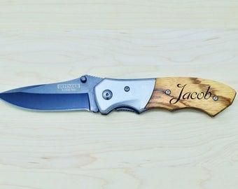 Engraved Knife, Custom Knife, Personalized Knife, Gift for Him, Groomsmen Gift, Pocket Knife, Folding Knife, Engraved Wood, Best Man Gift