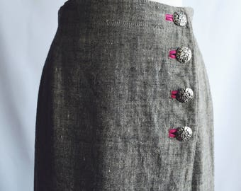 Grey linen skirt pink buttons.