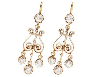 Edwardian Girandole Diamond Earrings | Antique All Diamonds Dangle Earrings Gold | 1910 Vintage Old European Cut Diamond Earrings || 17878