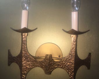 Pair Mid Century Brutalist Style wall sconces made by Moe Light