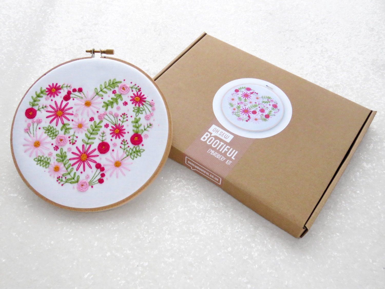 Heart hoop art kit pink flower embroidery set diy