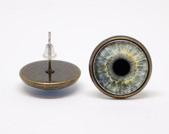 Grey eye earrings Eyeball earrings Eye jewelry Girlfriend gift Eyeball jewelry Human eyes Studs earrings Realistic Eyes earrings Girls gift