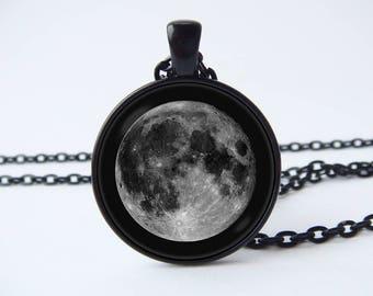 Lunar necklace Girlfriend gift Moon pendant Gray moon Lunar jewelry Full moon jewelry Moon jewellery Moon necklace Moon gift Moon phases