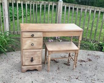 Vanity w/bench, Desk, Writing Desk, Secretary, Dresser, Student Desk, farmhouse desk, shabby chic desk, french country desk, vintage desk