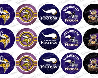 "Minnesota Vikings Bottlecap Images, 1"" Circle Images, 4x6 Collage Sheet, Football Images, Digital Collage Sheet, Cupcake Toppers"