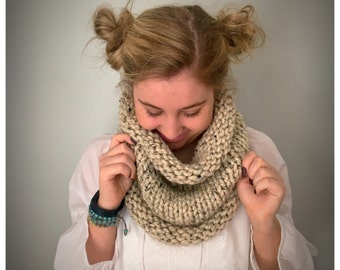 Chunky Knit Cowl Neck Scarf / Color - Oatmeal /  Soft and Warm / Ready to ship