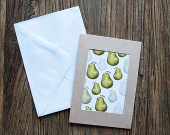 Pear greeting card, birthday card, illustration print, lemon, lemon print, kitchen print, kitchen wall art, wall decor, gift idea, pearfect
