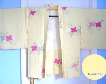 Japanese Silk HAORI Kimono Jacket - Fully Tie dyed (Sibori) Pale Turqoise