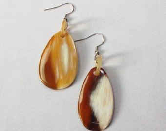 Buffalo horn earrings  - Beautiful black horn earring KAI-2685