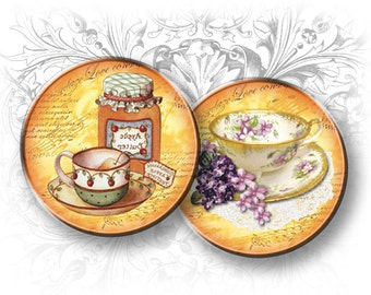 Tea Time 1 Inch Circles Digital Collage Sheet Download and Print Printable Images Collage Sheet Tea Instant download