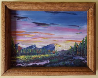 Impasto Sunset with Solid Oak Frame