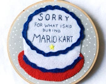 Apology Cake Mario Kart 6 inch Embroidered Hoop - Gray