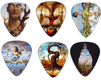 Cool Surreal Artwork Guitar Picks - Inspired By Salvador Dali, 12 Celluloid Medium Plectrum + Key chain Pick Holder, Best Father Day Gift!