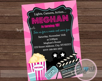 movie chalk invite etsy