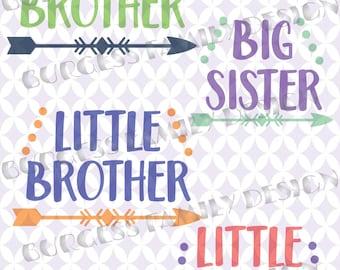 Bundle 4 pack Big Brother Little Brother Big Sister Little Sister New Baby Sibling shirts svg Bundle Cuttable design file svg dxf eps png