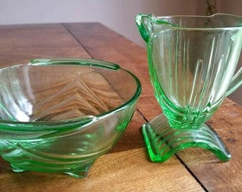 1930's art deco Stolzle glass milk jug and sugar bowl.