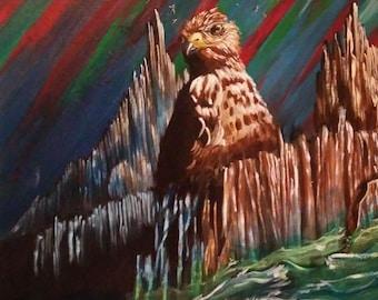 Hawk Island acrylic painting on panel