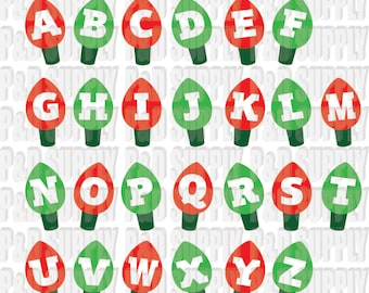 Christmas Lights Alphabet - Christmas Letters - Christmas Font, DXF Digital cut file for cricut or Silhouette svg, dxf